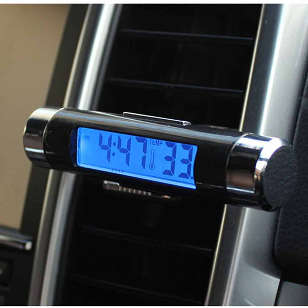 2 In 1 Car Vehicle LCD Digital Display Automotive Thermometer Clock Portable Car Air Vent Outlet Clip-on LED Backlight