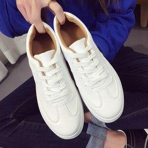 Image 3 - ฤดูร้อนรองเท้าผ้าใบสีขาวรองเท้าแพลตฟอร์มตะกร้าFemmeความสูงสุภาพสตรีรอบToeหญิงTenis Femininoสีดำ44