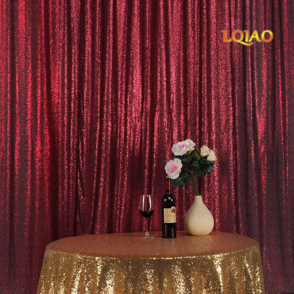 Burgundy Sequin Curtain Backdrop-004