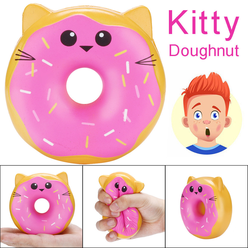 2019 Fashion 10cm Squishies Kitty Doughnut Slow Rising Cream Scented Stress Relief Toys Squish Cartoon Kid Toys Squeeze Toys
