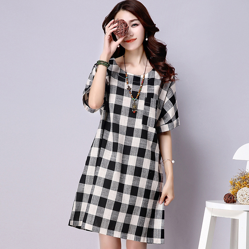 Aliexpress.com : Buy Red Plaid Dress Women Short Sleeve Knee ...