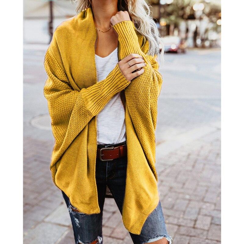 Fashion Batwing Sleeve Cardigan Women Ladies Knitted Sweater Elegant Loose Shawl Coats Knitwear Autumn Winter