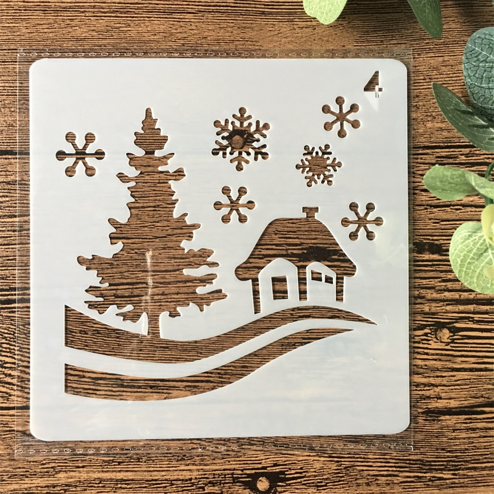 13cm Christmas House Snow DIY Layering Stencils Painting Scrapbook Coloring Embossing Album Decorative Card Template