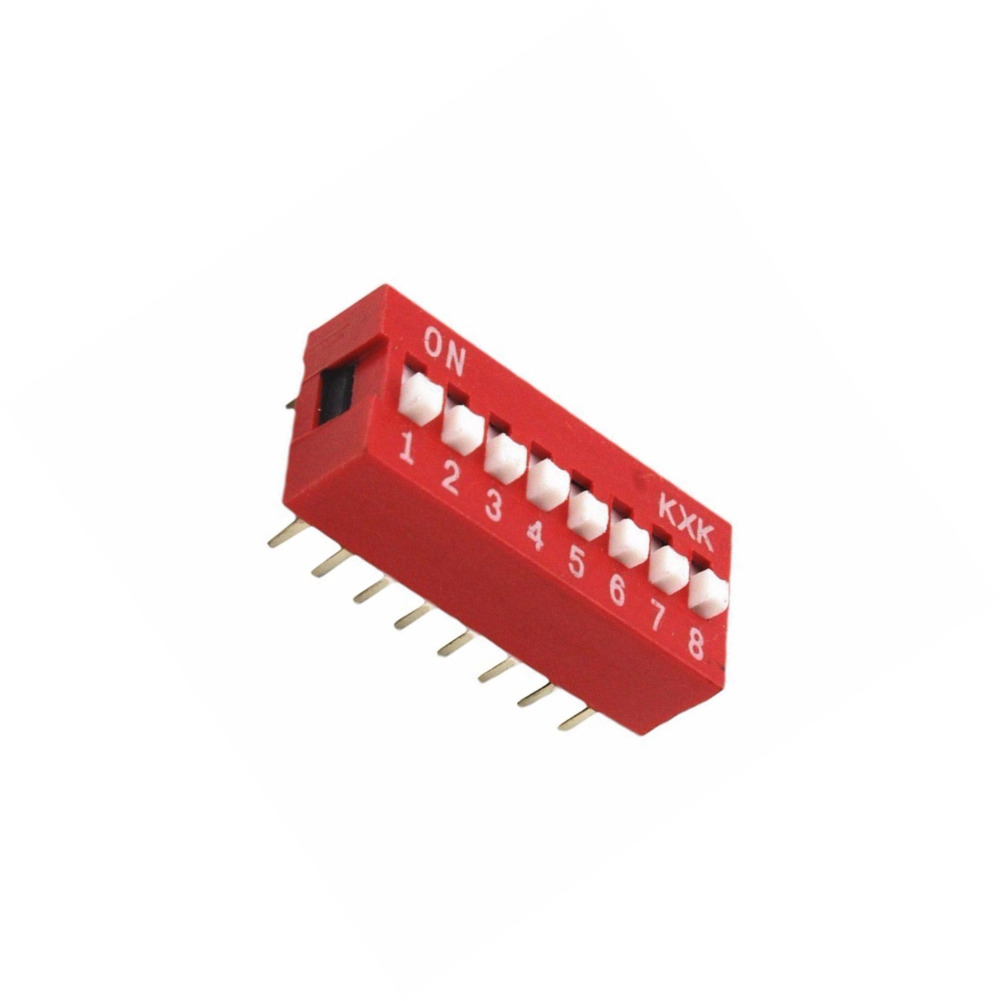 5PCS Slide Type Switch Module 2.54mm 8-Bit 8 Position Way DIP Red Pitch NEW