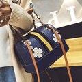 Sacola De Couro PU Bordado Trapézio Boston Mulheres Sacos de Bolsas de Grife de Moda Senhoras De Alta Qualidade Sacos Crossbody Do Vintage