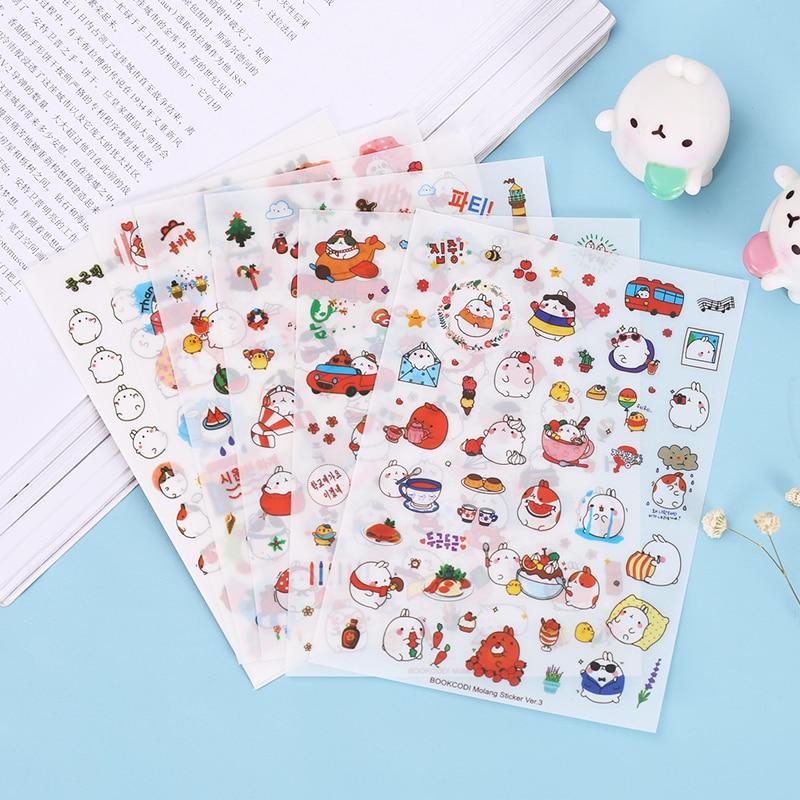 Cute Molang Rabbit Cartoon Animals Sticker Pvc Cartoon Stickers Diary Sticker Scrapbook Decoration Stationery Stickers 6