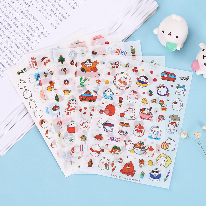 Cute Molang Rabbit Cartoon Animals Sticker Pvc Cartoon Stickers Diary Sticker Scrapbook Decoration Stationery Stickers