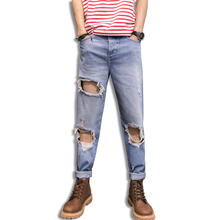TRUST DREAM 2017 Spring Summer Men Big Hole Ripped Jeans Ankle Length Fashion Man Sexy Amazing