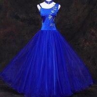 Ballroom Dance Dress Women Customized Blue Competition Standard Dance Dress Flamenco Dance Costumes Ballroom Dancewear DN1232