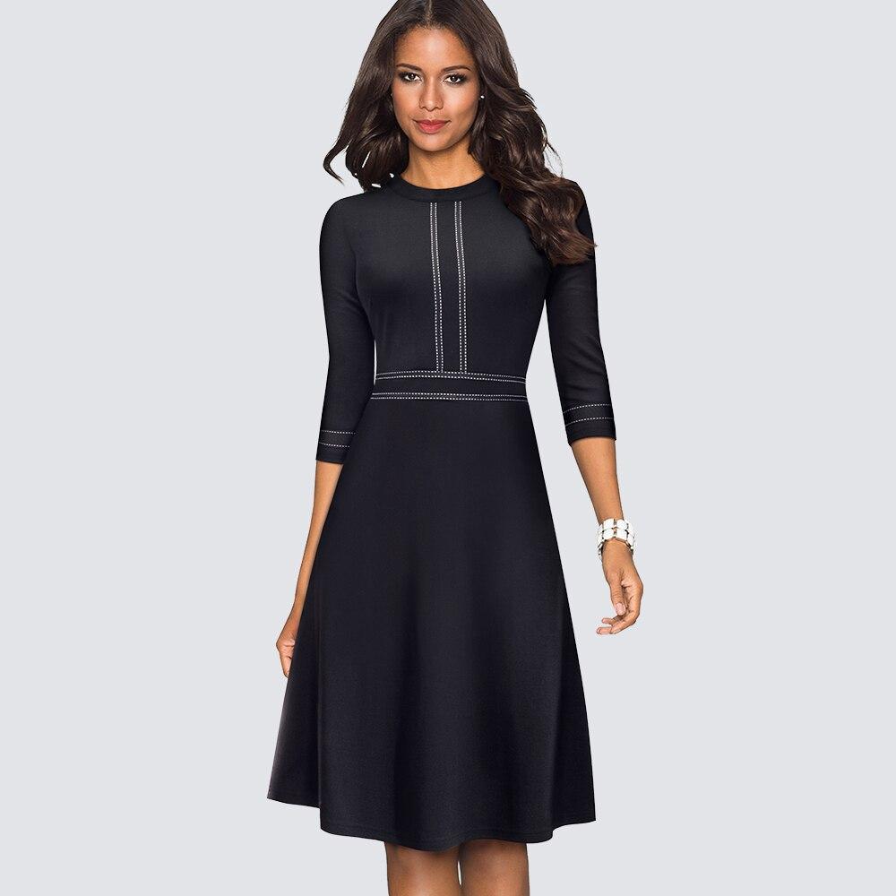 Women Vintage Swing Office A-line Party Dress Elegant Patchwork Skater Black Dress Vestidos HA135