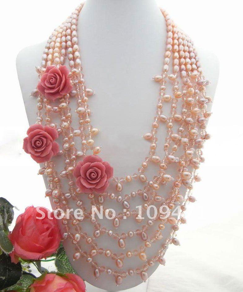 Натуральное ожерелье из 6 страз розового жемчуга и розового цветка