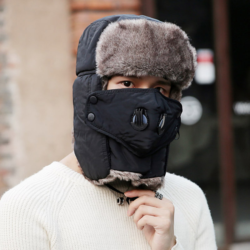 Doitbest Prevent Fog Haze Winter Fur Men's Bomber Hats Windproof Thick Warm Snow Women Cap Face Mask Russian Earflap Ushanka Hat