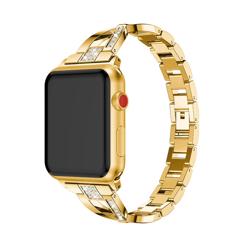 CRESTED diamond strap For Apple Watch band 42mm 38mm 316 stainless steel iwatch series 3 2 1 wrist watchband strap bracelet belt in Watchbands from Watches