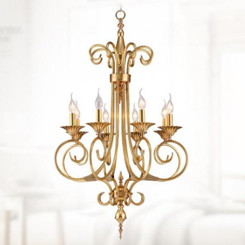 люстра chandelier 6 arm Retro 8-arm long Cafe light Chain Pendant chandelier for dining room 110-240v Led candle Lustres E Pendentes Foyer home lighting