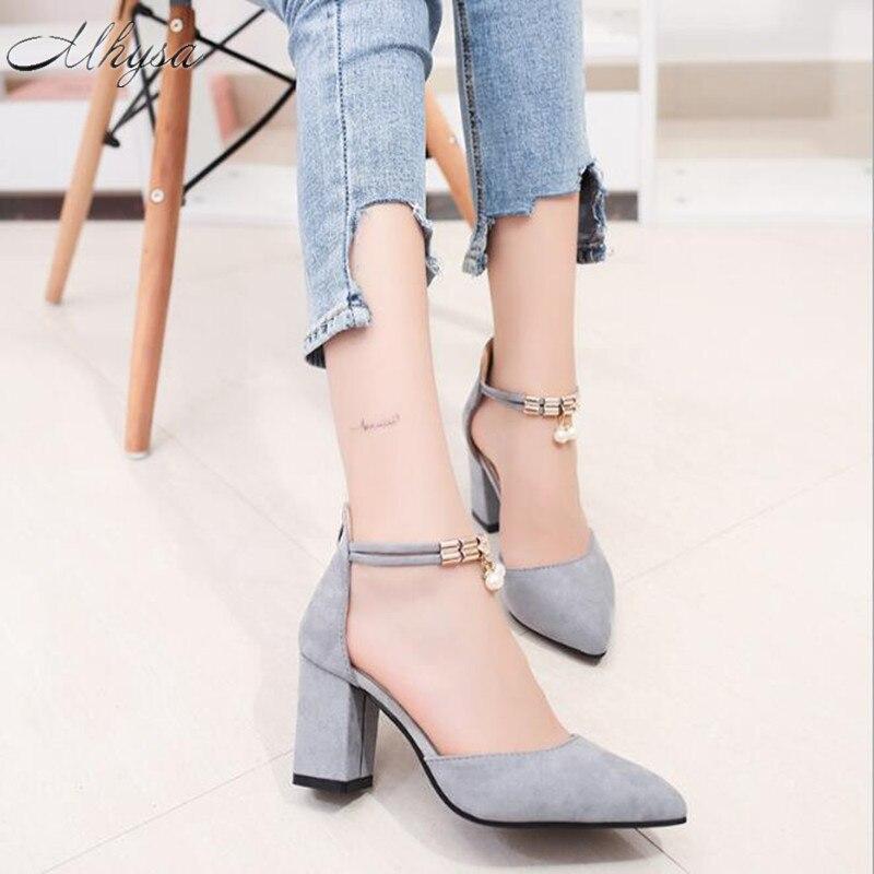 d62f587265 Mhysa 2018 nuevas mujeres Zapatos punta estrecha Bombas vestido Zapatos  Tacones altos Zapatos para barco boda Zapatos tenis feminino lado con en Bombas  de ...