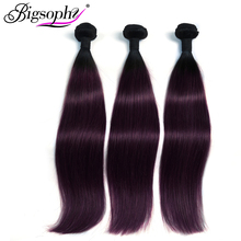 Bigsophy Indian Hair Weave Bundles Straight Human Hair 3 Bundles deals 10-28 inch Remy Hair Extension 2 Tone Ombre Color 1B/99J linlin hair pre colored ombre blonde indian straight hair weave 3 bundles 1b 27 non remy indian 100% human hair rollers
