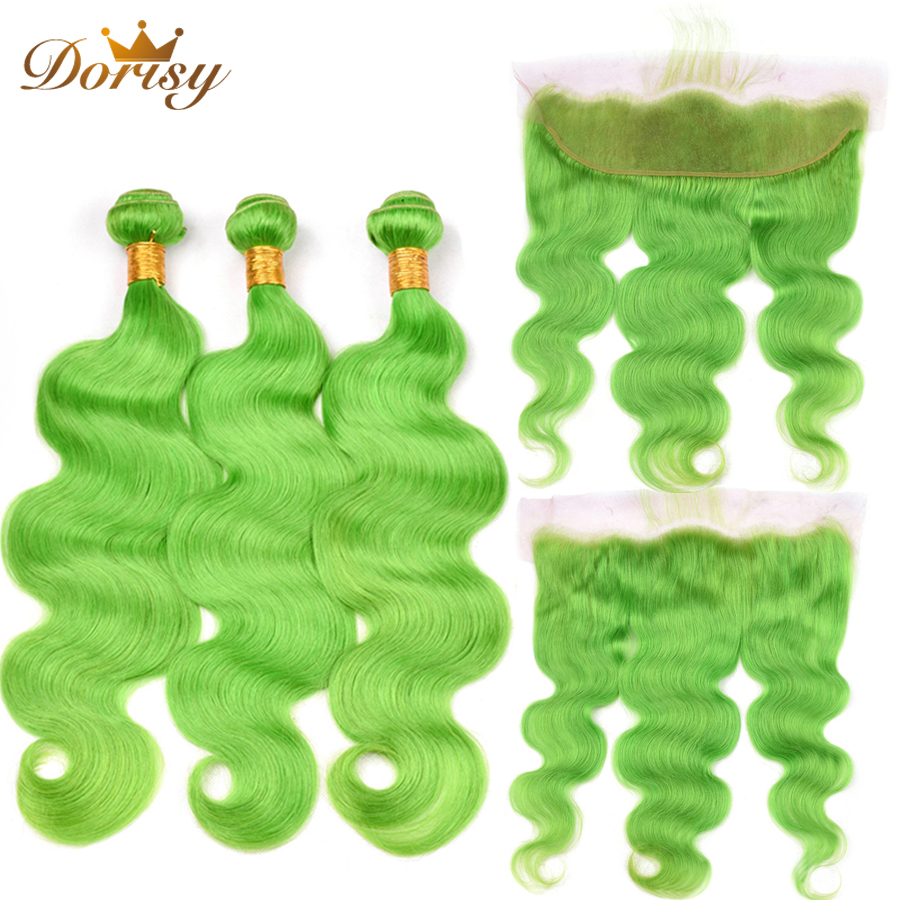 Pre Colored Green Body Wave Bundles With Closure Human Hair Bundles With Frontal Lace Frontal With Brazilian Remy Hair Bundles