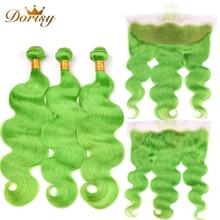 Предварительно окрашенные зеленые пучки объемной волны с закрытыми пучками человеческих волос  ★