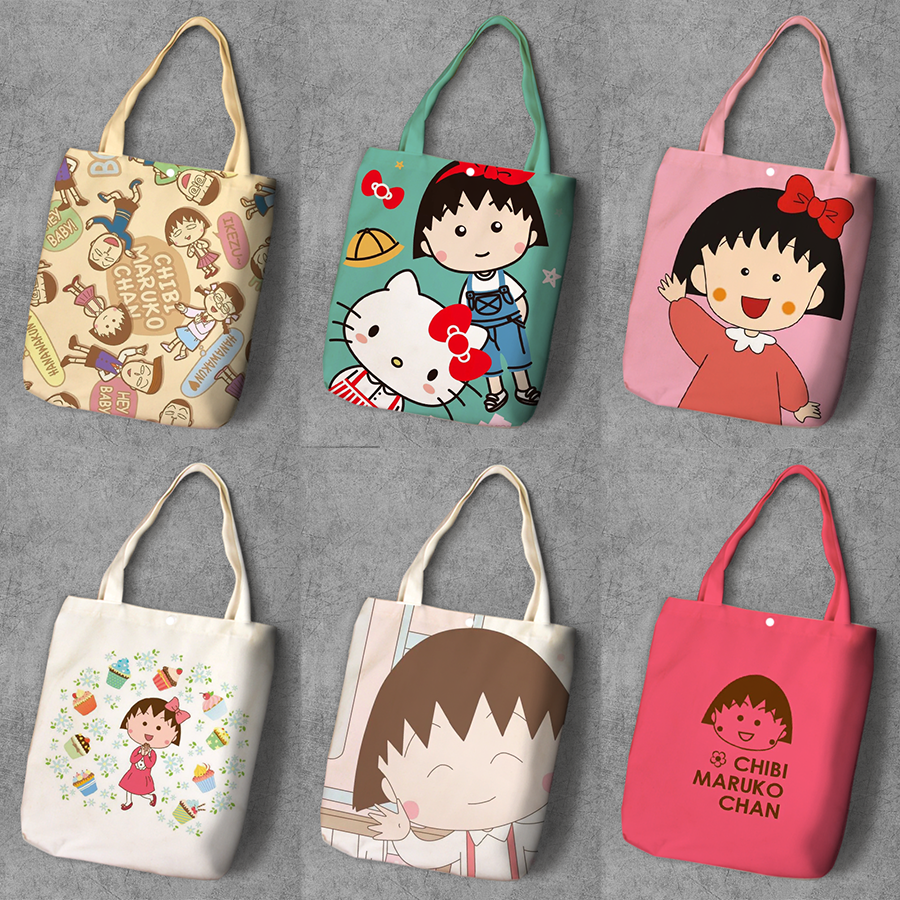 Chi-bi Maruko Cartoon Student Printed Canvas Shopping Backpack Large Capacity Anime Tote Fashion Ladies Casual Shoulder Bags