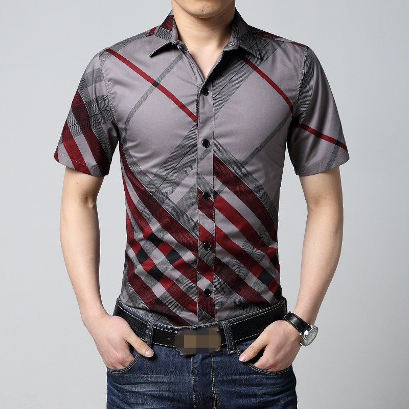 6xl red and black plaid shirt men summer mens short sleeve for Mens black short sleeve dress shirt