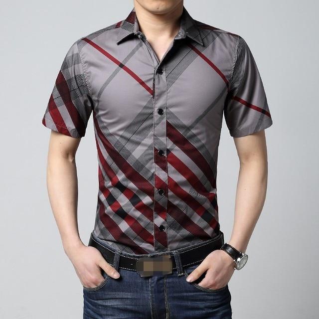 ac6155541581 6XL Red and Black Plaid Shirt Men Summer Mens Short Sleeve Dress Shirts  Casual Striped Slim Fit Button Down Shirts for Men