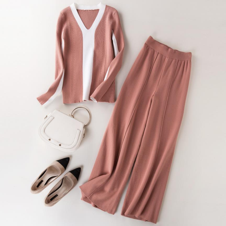 2019 autumn New Fashion Women Two Piece Sets knitted v-neck sweater+  wide     leg     pants