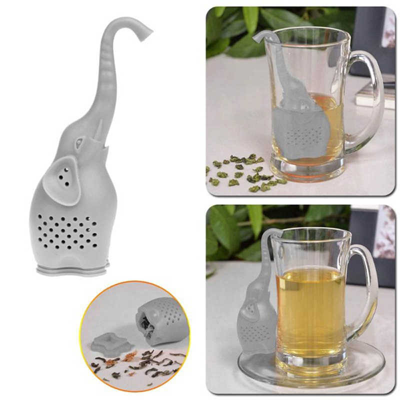 Coffee Tea Stainer Reuseable Cute Elephant Tea Infuser Loose Strainer Silicone Herbal Holder Tea Punch Filter