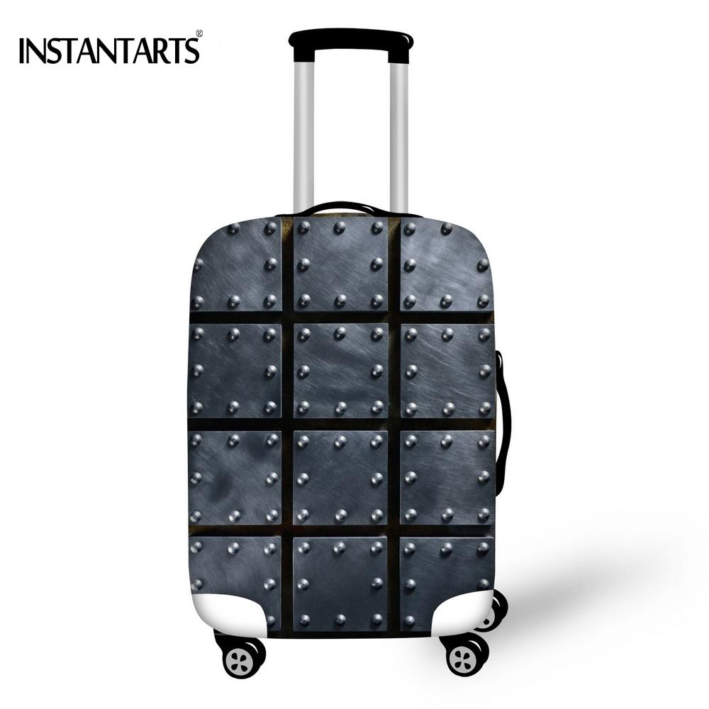 INSTANTARTS 3D Grey Heavy Metal Print Travel Luggage Protective Covers For 18 20 22 28 30 Inch Trolley Suitcase Dust Rain Cover