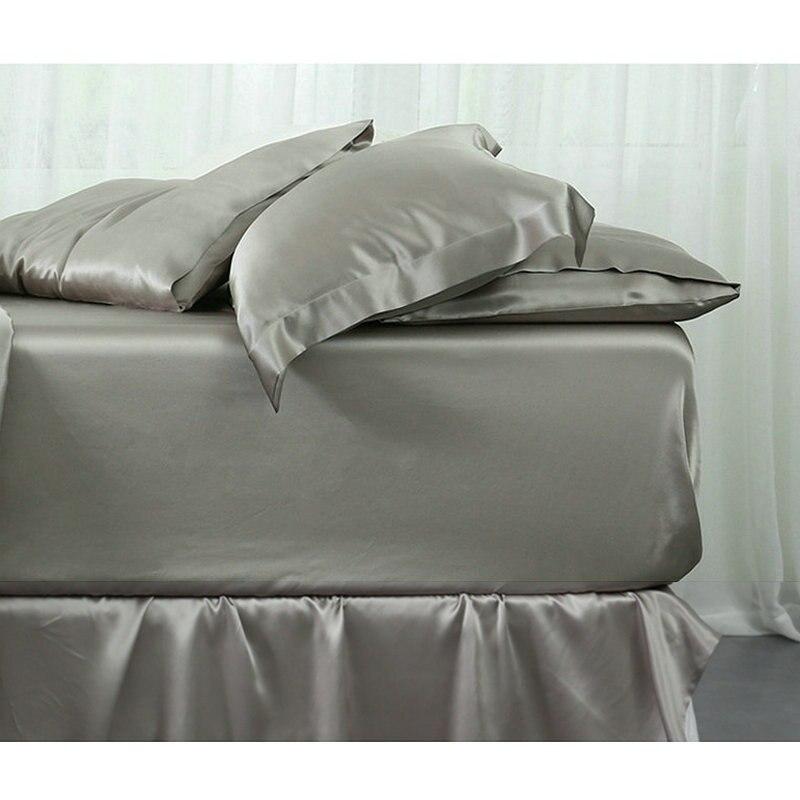 22 m/m pur blanc 100% mûrier soie draps housses ensembles 1 pièces roi reine twin multicolore soie literie