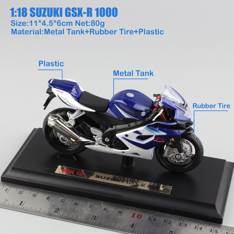 Model Motorcycle Suzuki GSX 1000R1 Motorcycle Bike Model Scale 1:18