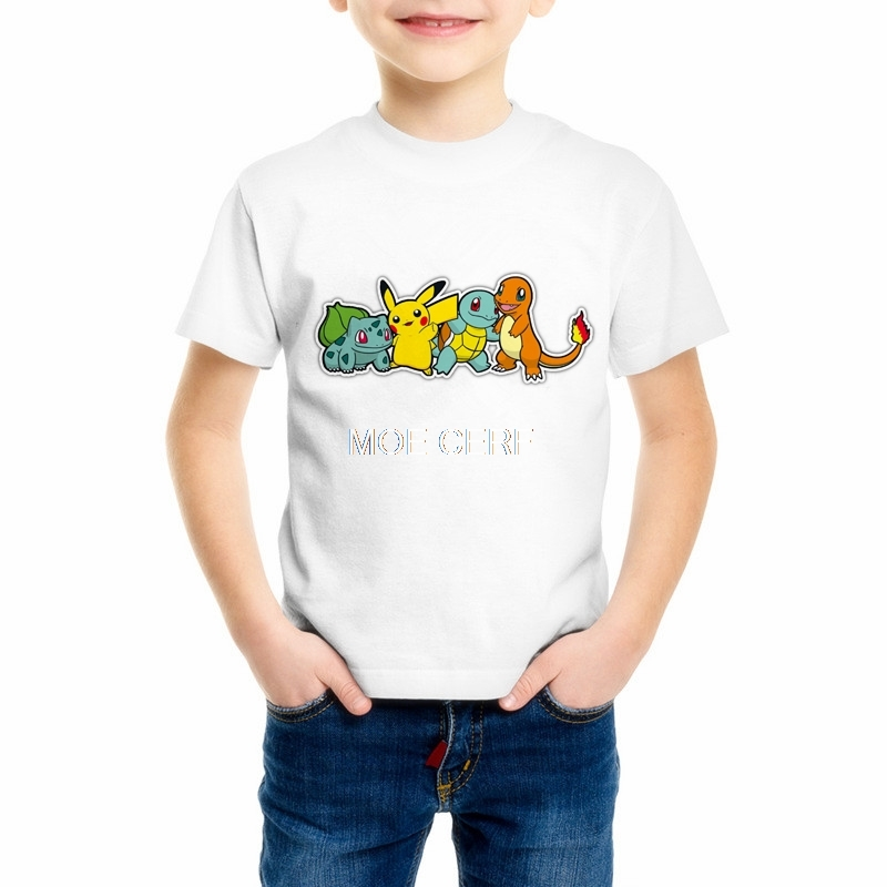 Summer Kid T- shirt 2019 Pokemon Children T shirts Cartoon Pikachu Boys Clothes Pocket Monster Girls clothing C20-23