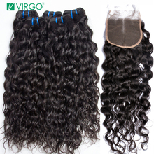 Water Wave Bundles With Closure 3 Pcs Human Hair Bundles with Closure Middle Part Virgo Malaysian Human Hair Non Remy Weave(China)