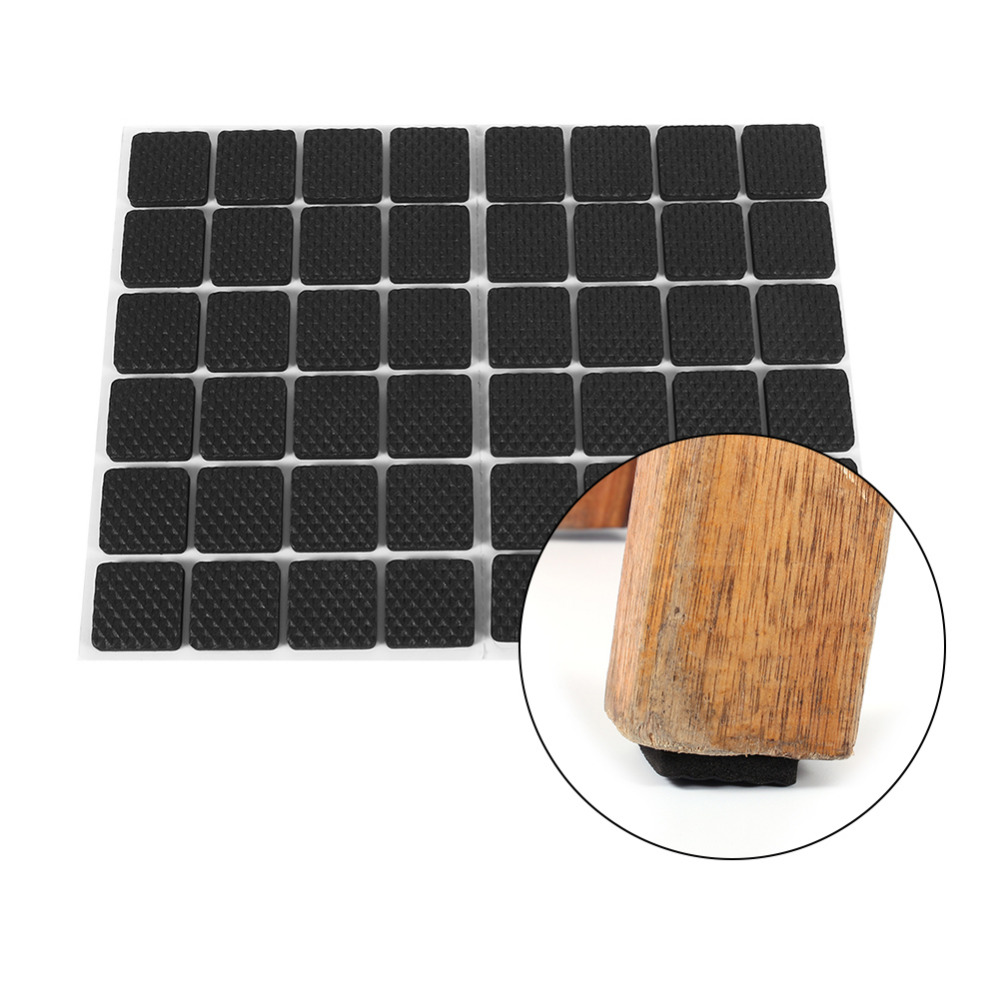48pcs Black Table Chair Rubber Feet Pads Non Slip Self