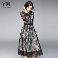 YuooMuoo Sping See Through Black Lace A Line Long Dress Hollow Out Elegant Vintage Floral Mid