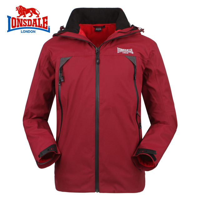 huge discount 5b969 52dfa US $337.9 |Lonsdale Professional Outdoor Three unit Jacket Men Waterproof  Windproof Sports Jacket Soft ShellAutumn/Winter Free shipping in Lonsdale  ...