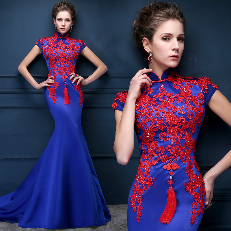 Luxury Chinese Mermaid Evening Dress Arabic Dubai Royal Blue Satin