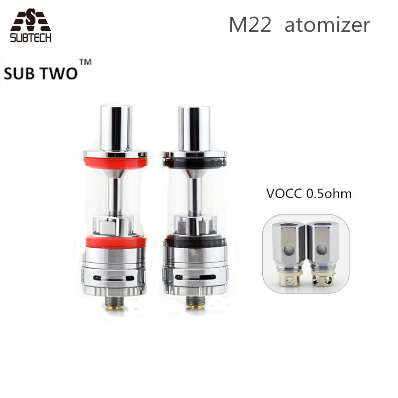 5pcs  lot original sub two m22 e cigarette atomizer vape tank with 0 5ohm vocc coil fit battery