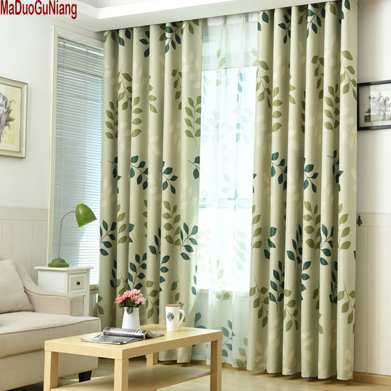 Leaf Printing Blackout Curtains For Living Room Window
