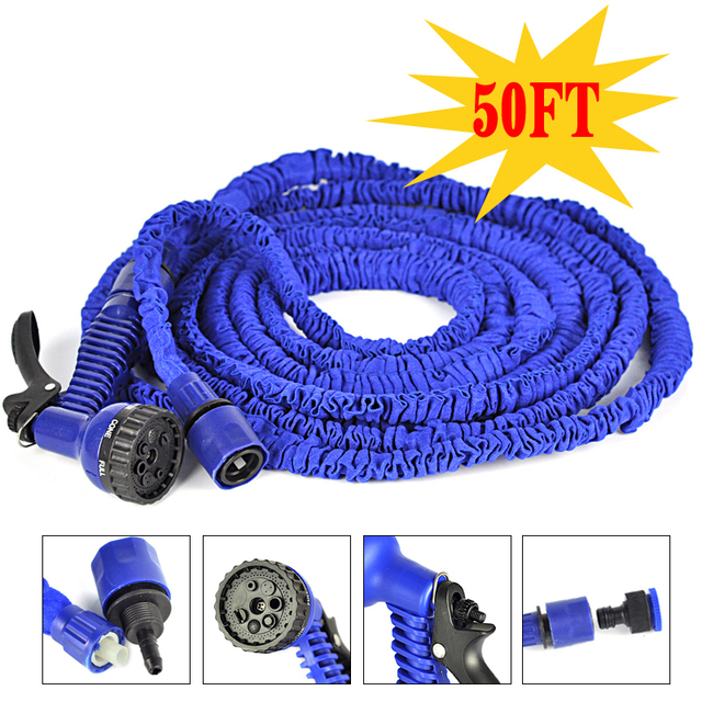 Sale!50FT Garden Hose Magic Hose As Seen On TV 2015,Retractable Garden  Water Watering Hose For Car Pipe With Gun U0026 Blue