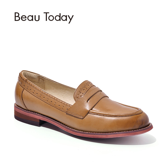 BeauToday Penny Loafers Women Sheepskin Moccasin Genuine Leather Slip On  Pointed Toe Flats Plus Size Shoes