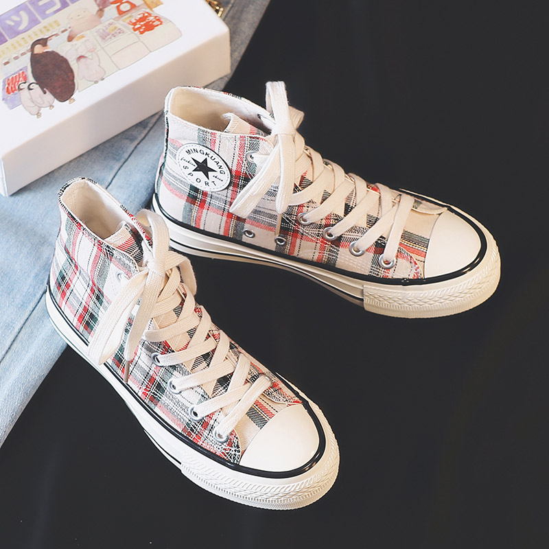 Casual Sneakers Shoes Checkered High-Top Canvas Women New-Fashion Ladies Outdoor Spring