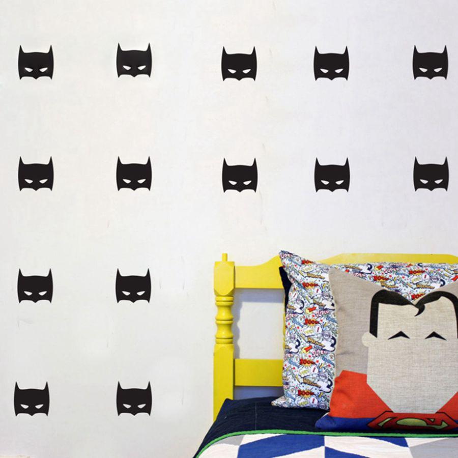 Hero Wall Sticker For Boys Room Art Decor , Super Hero Batman Mask Removable Vinyl Wall Sticker For Boys Bedroom Decor