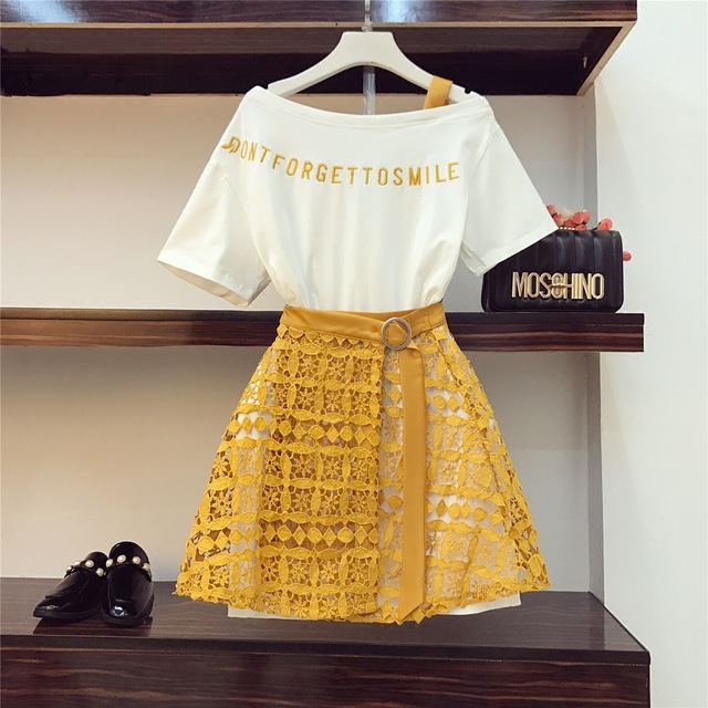 2019 Spring Summer Women Fashion 2 Piece Suit Slash Collar Off Shoulder Long T Shirt & Hollow Out Lace Skirt Suits Skirts Set #3