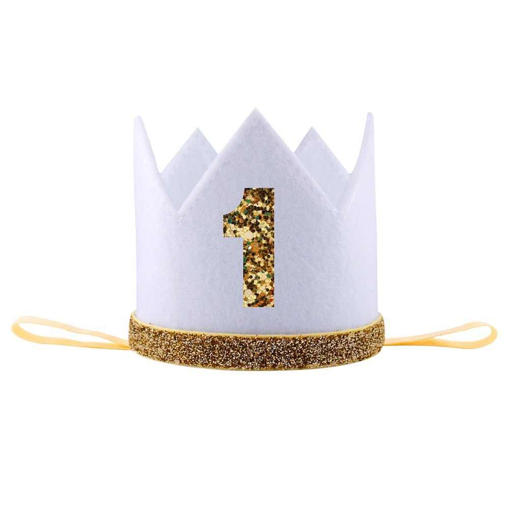 誕生日のヘッドバンドギフトボーイブルーシルバー最初の誕生日帽子の少女ゴールドピンク Priness クラウン番号 1st 2 3 歳パーティー帽子グリッター