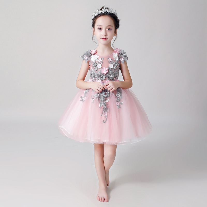 Beading Flower Girl Dresses for Wedding Appliques Princess Evening Gowns Ball Gown Kids Pageant Dress for Birthday Costume B434Beading Flower Girl Dresses for Wedding Appliques Princess Evening Gowns Ball Gown Kids Pageant Dress for Birthday Costume B434