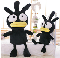 Candice Guo Newest Arrival Super Cute Plush Toy Mang Big Mouth Black Chicken Stuffed Funny Doll