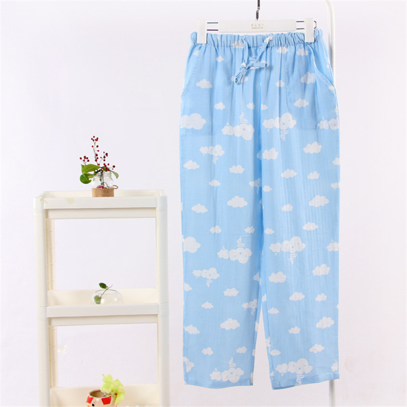 Hoffen 2017 Spring Summer Homewear Women Casual Plaid Sleep Pants Cloud Printed Pijama Femme Casual Loose Sleep Bottoms WS211