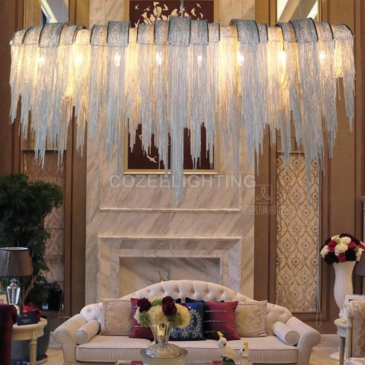 Antik luksus lysekrone belysning aluminium kæde lysekroner hængende - Indendørs belysning - Foto 5