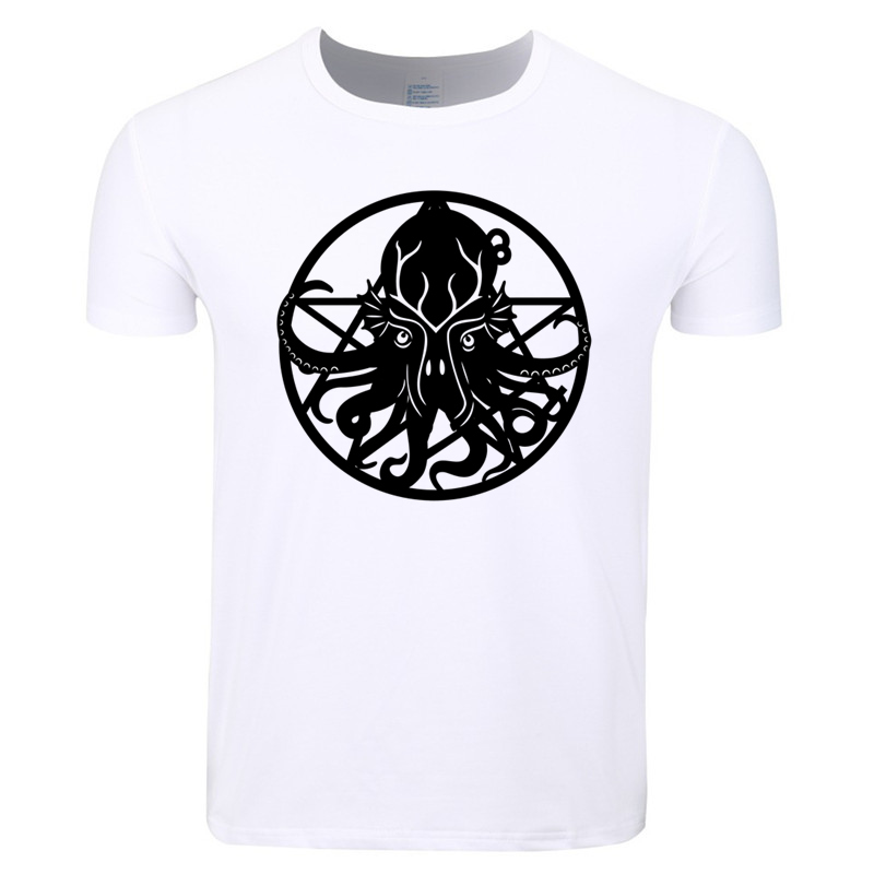 Asian Size Men Print Cthulhu I Want You Fashion T-shirt O-Neck Short Sleeve Summer Casual Polyester T-shirt Swag HCP4375