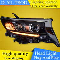 Car Styling For Toyota Prado Headlights 2018 HID Headlamp LED DRL Bi Xenon Lens Low configuration upgrade Automobile Accessories